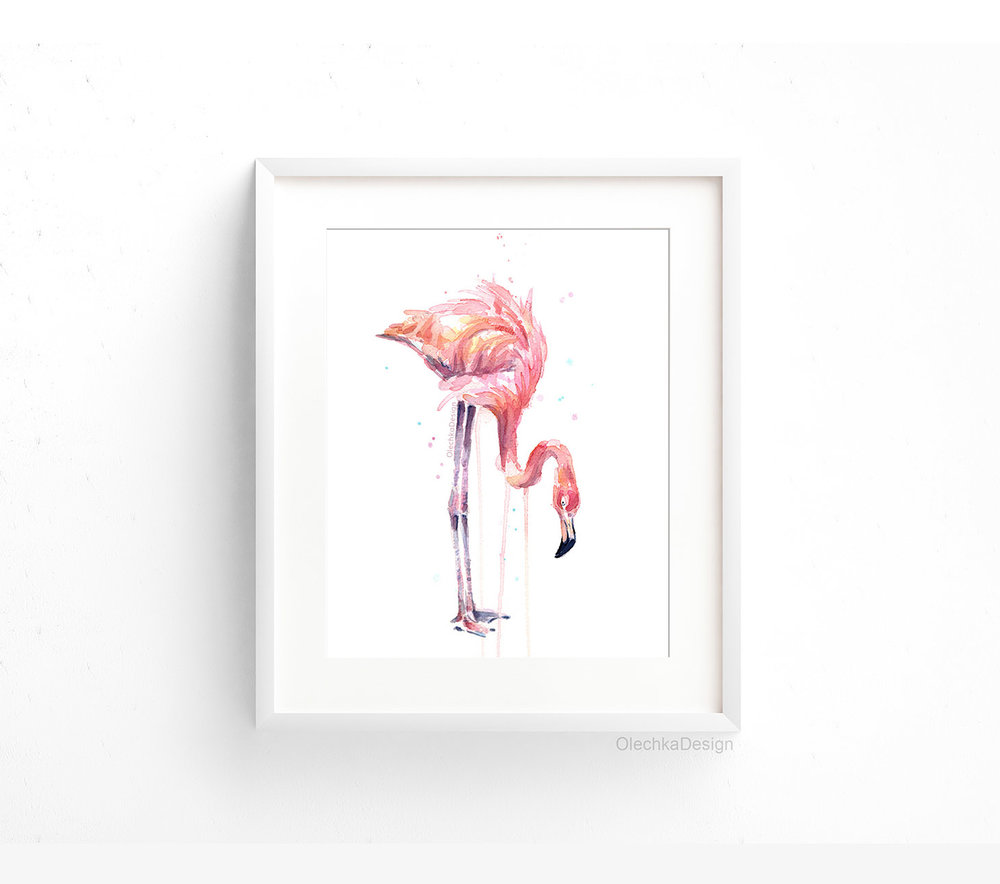flamingo-eating-drinking-watercolor-framed.jpg