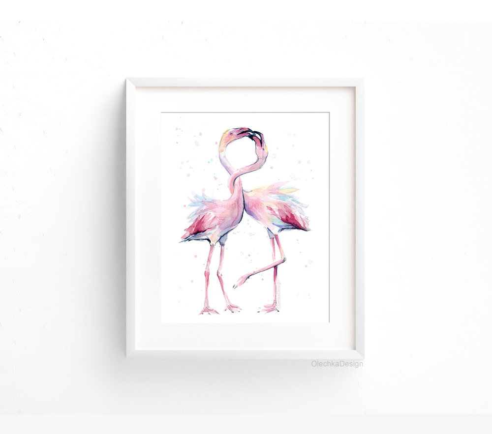 two flamingos watercolor