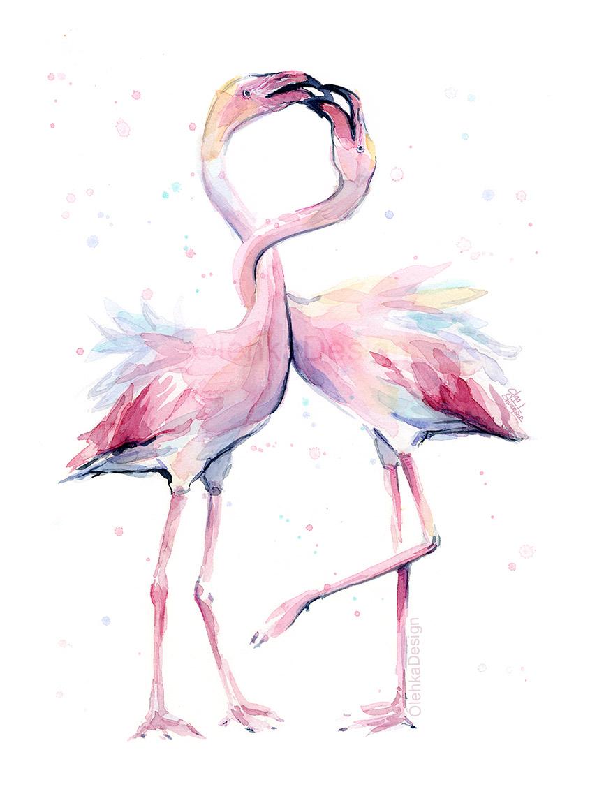 Watercolor flamingo