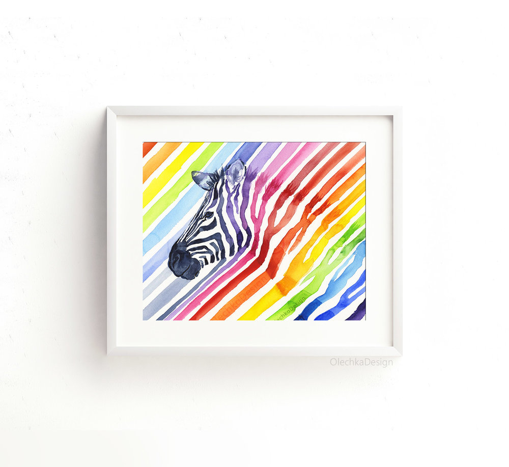 rainbow-zebra-art-print-nursery-kids-room-decor