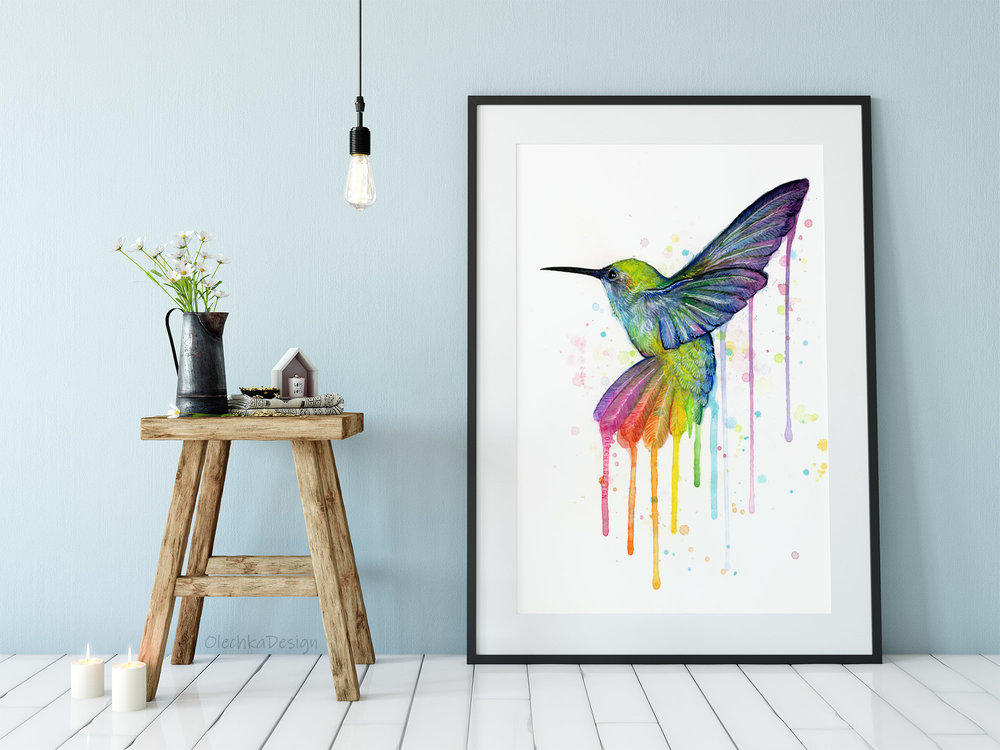 rainbow hummingbird art