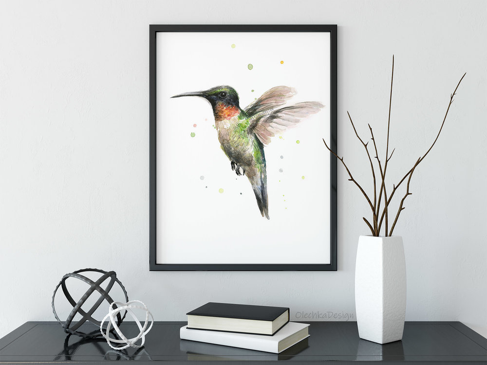 hummingbird watercolor art