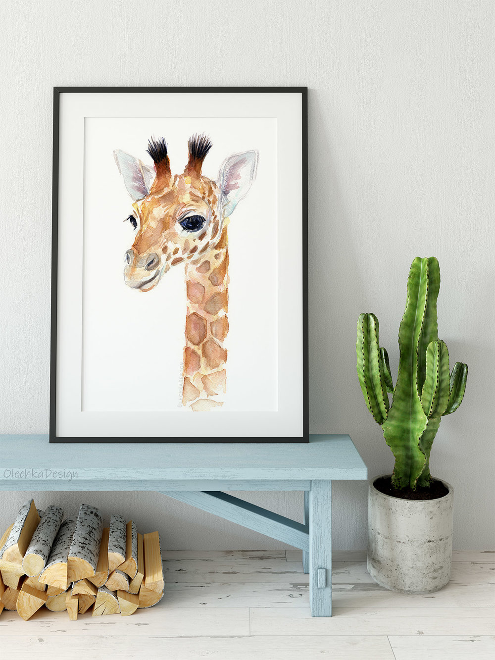giraffe baby watercolor