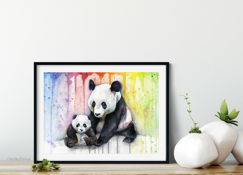 rainbow pandas watercolor
