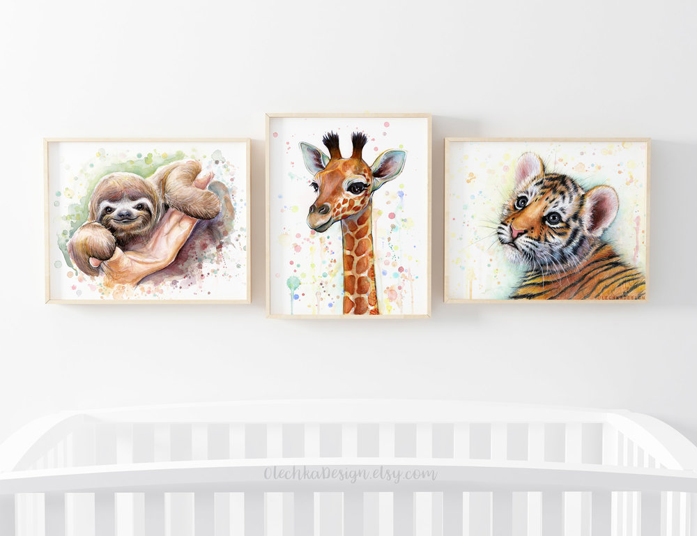 safari animals wall art