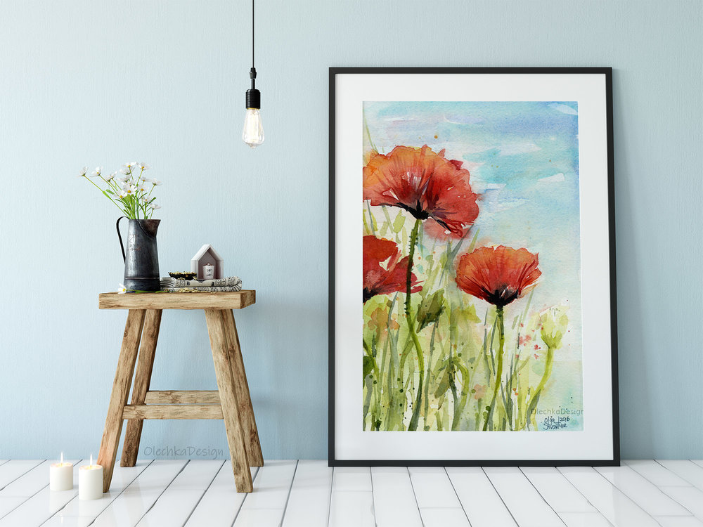 poppies watercolor art