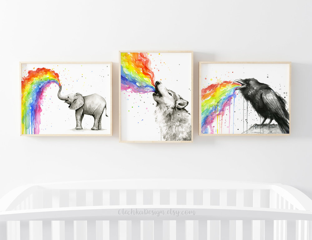 rainbow animal art