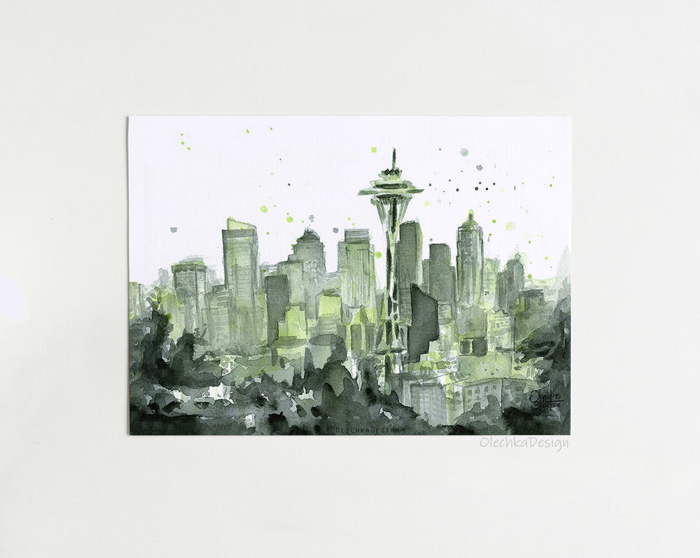 seattle city watercolor