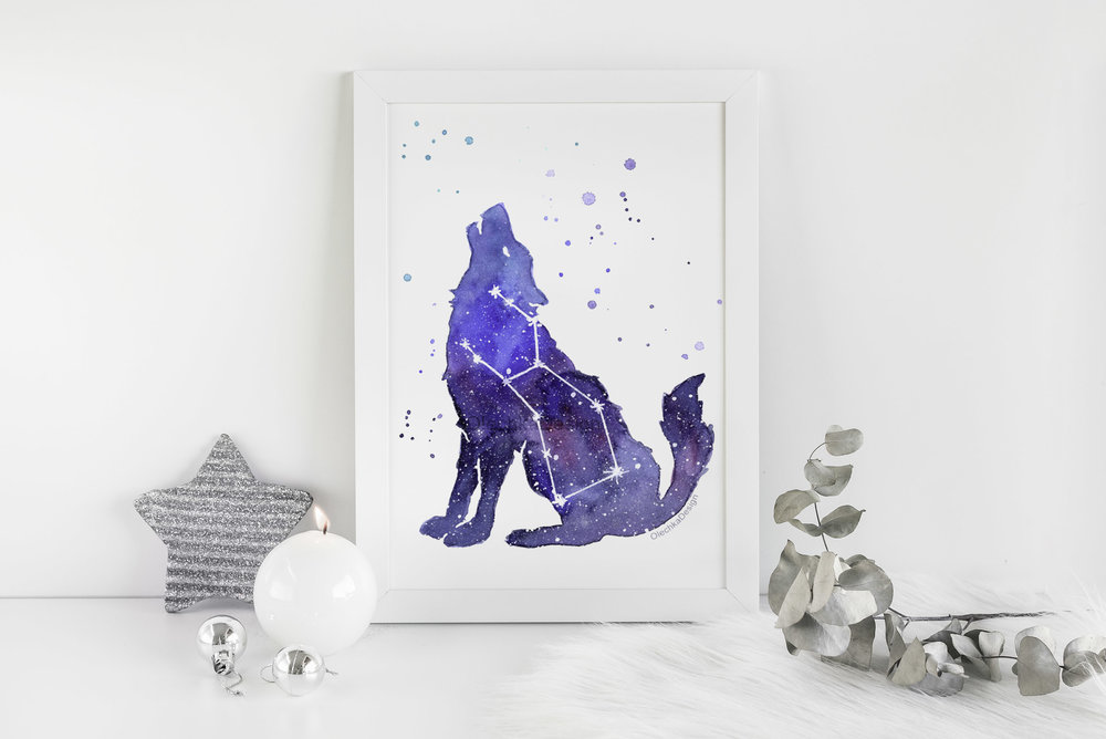 galaxy wolf painting