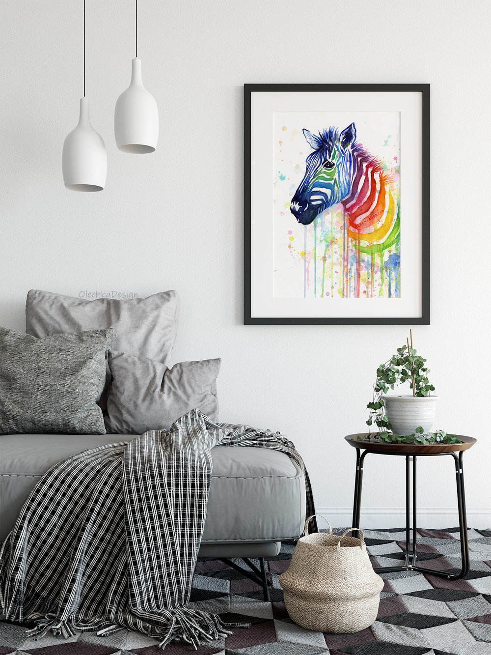 rainbow zebra painting