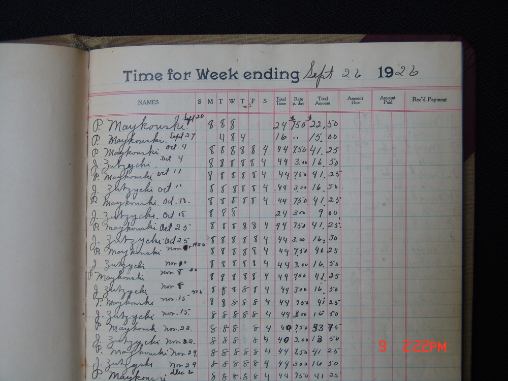 Koral Bros. 1926 ledger