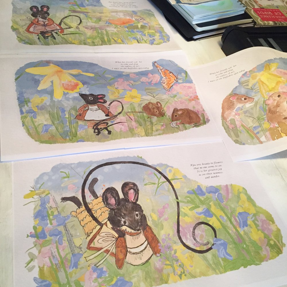 Computer print outs of the pages as I was digitally painting them.