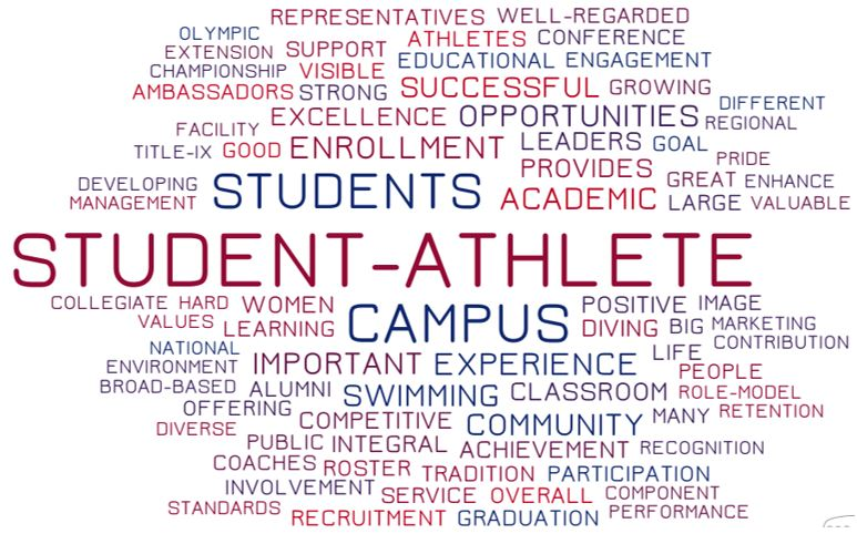 This word cloud represents administrators' most-frequently used terms when describing the impact and value of swimming & diving on their campus