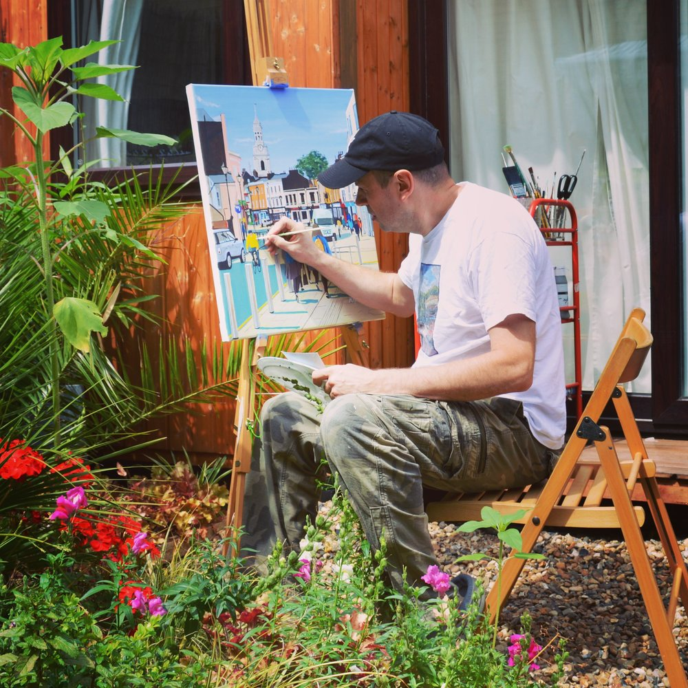 Artist M.Rodwell in the garden