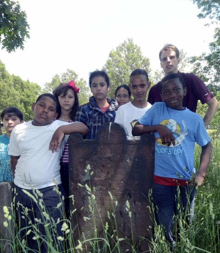 Students from Public School 48 (Bronx NY) who discovered a slave burial ground in Joseph Rodman Drake Park Photo: Richard Harbus