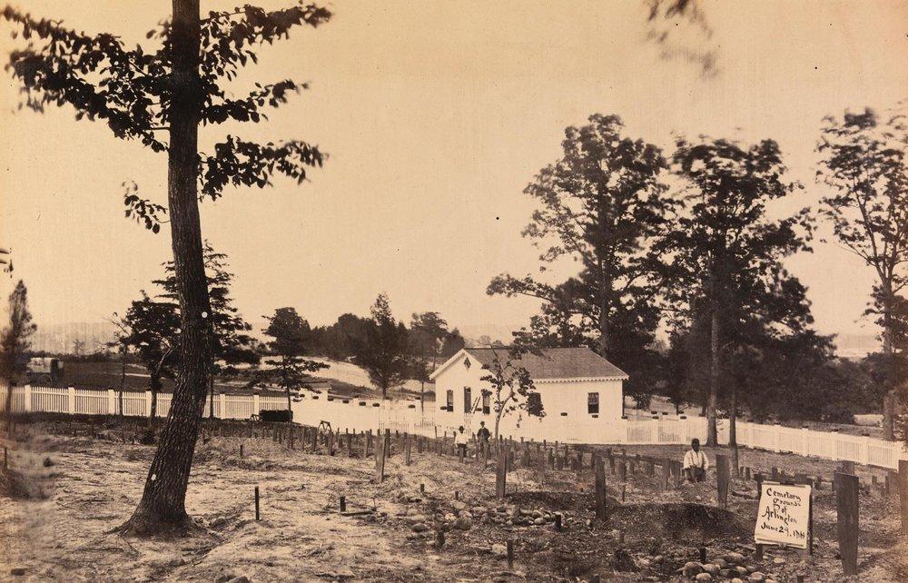 Early burials in Arlington, June 29, 1864. Photo courtesy of  Arlington National Cemetery
