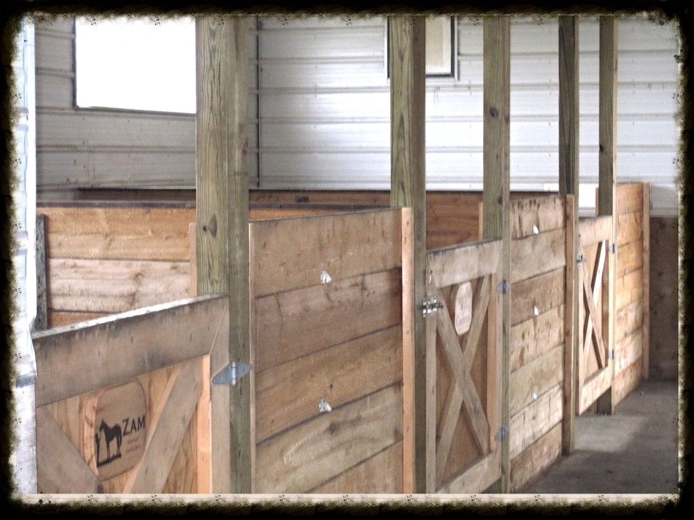 Three stall barn fitted with horse matting and a heated tack room.