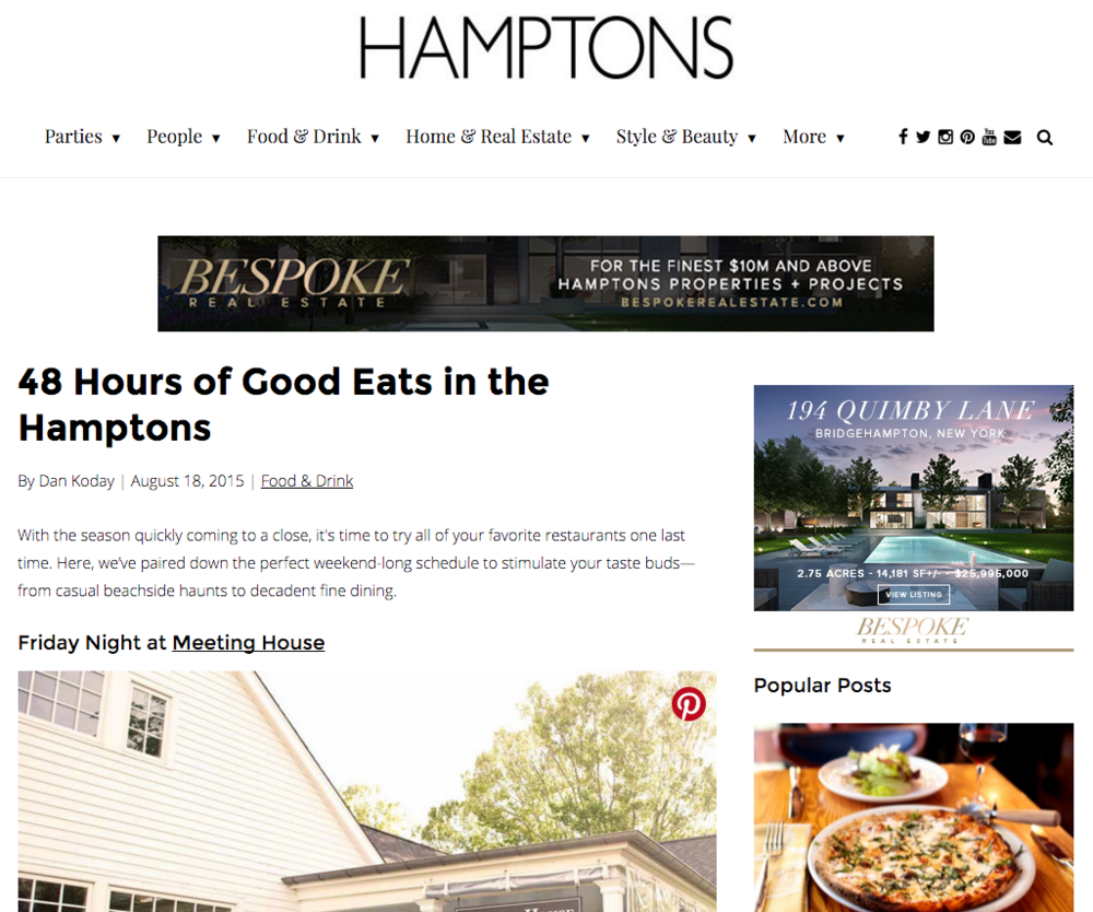48 Hours of Good Eats in the Hamptons