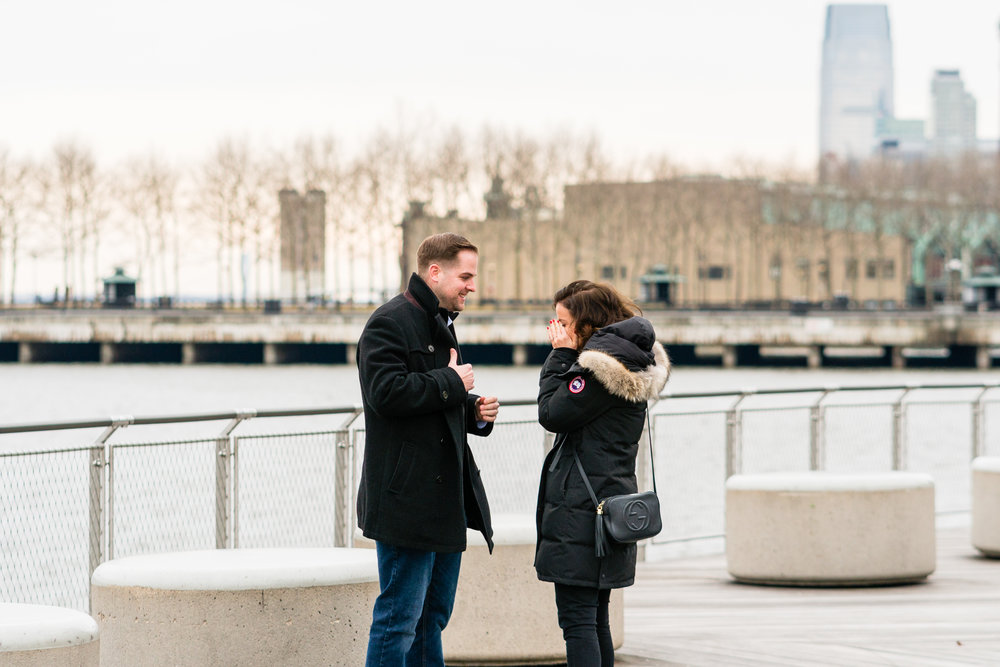 new jersey hoboken waterfront surprise engagement proposal photographer