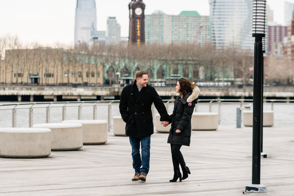 hoboken water front engagement photos