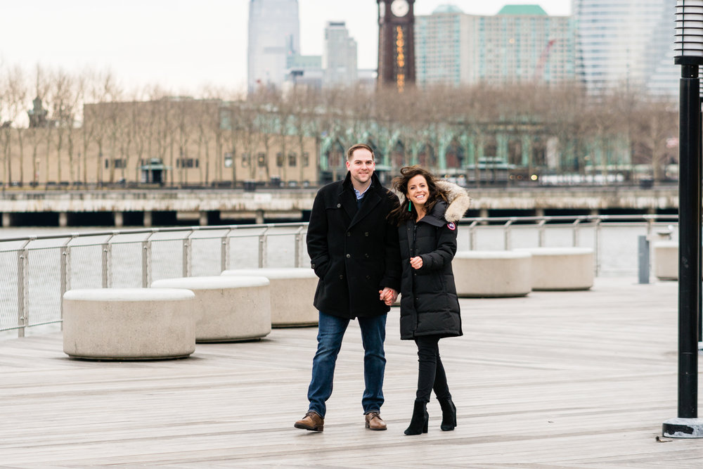 unposed moody natural hoboken engagement couple photos