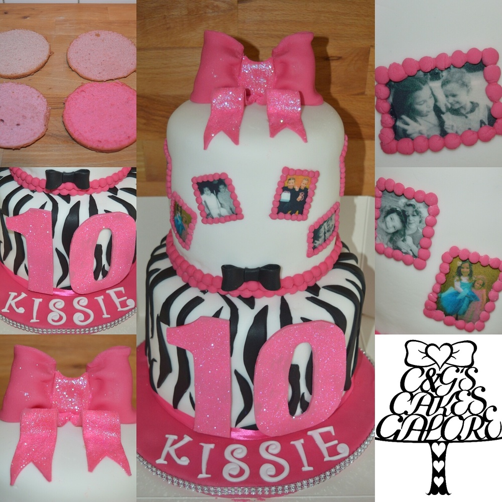 Pink ombre, zebra print cake with edible photo's