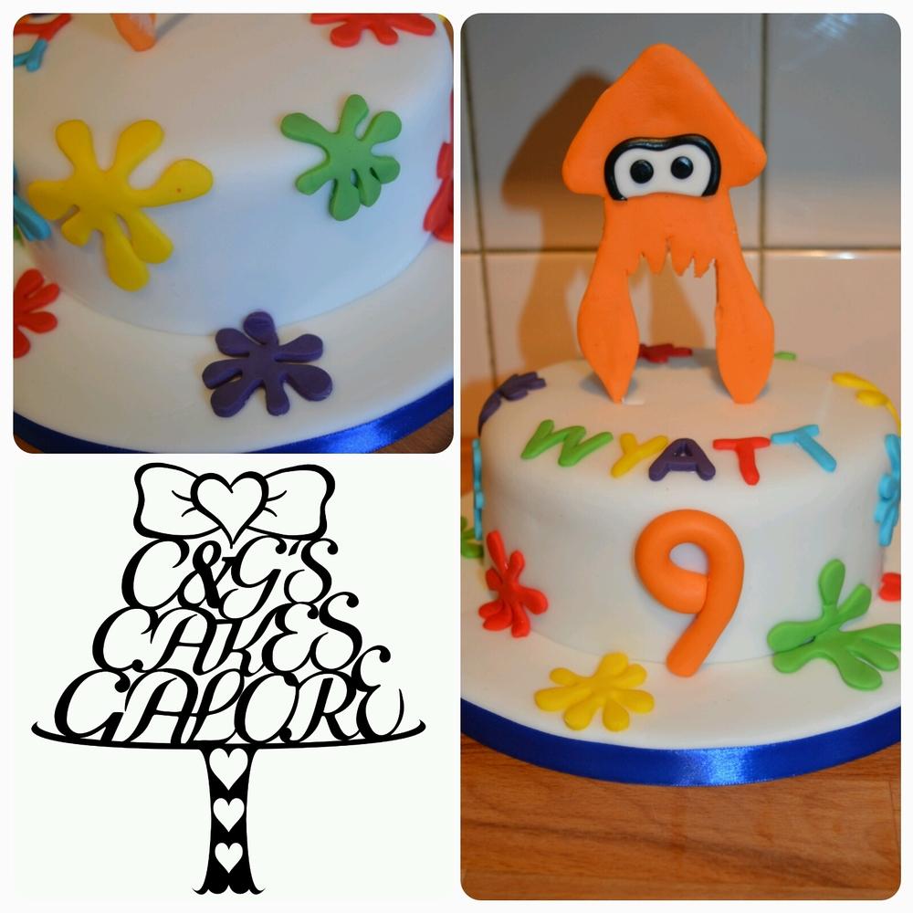 Splatoon rainbow cake