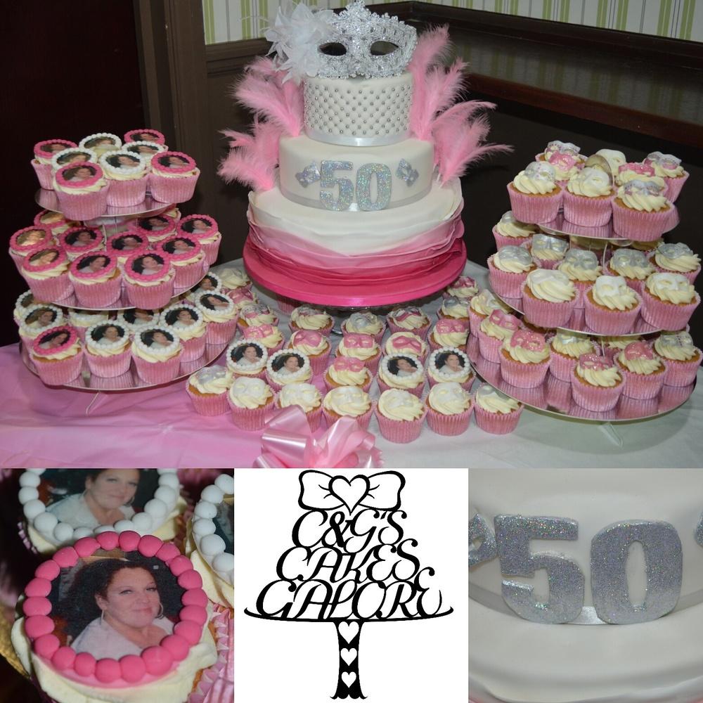 Masquerade cake and cupcakes