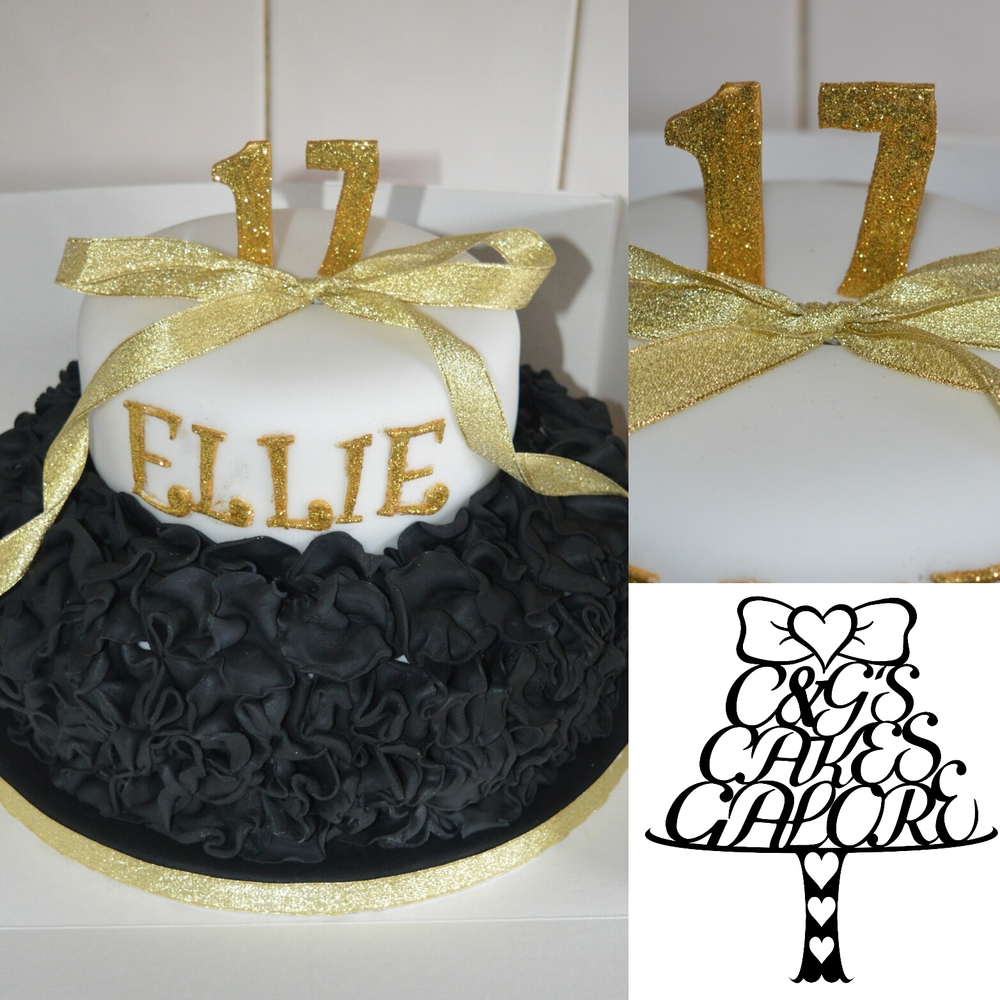Black and gold ruffle cake