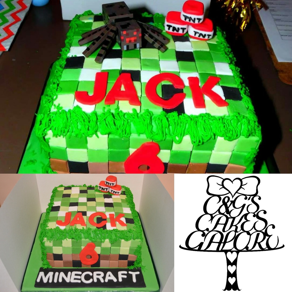 Minecraft cake with added characters