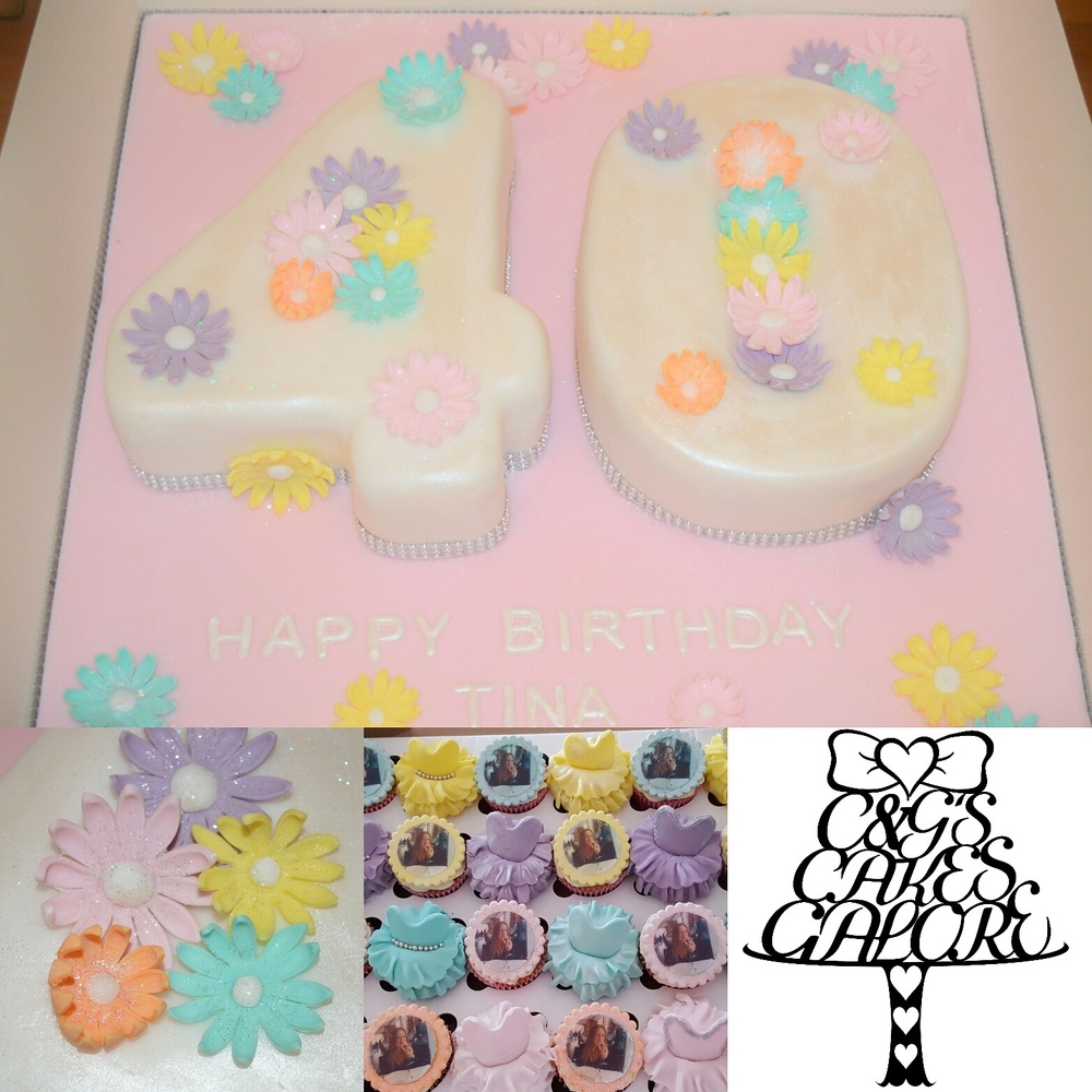 Pastel Flower 60th with matching cupcakes