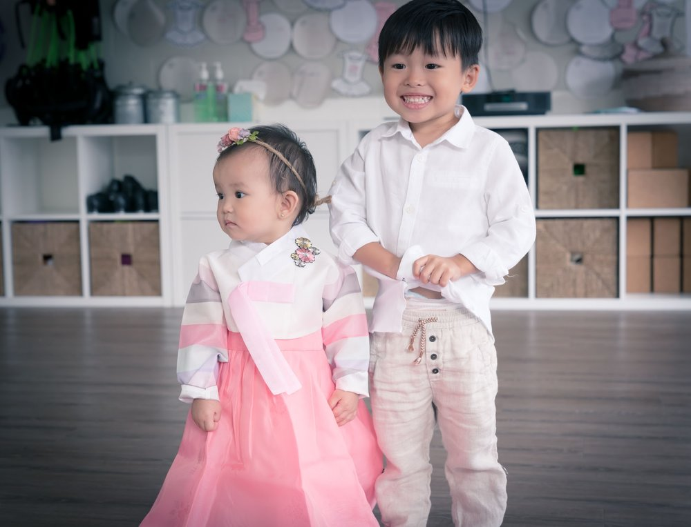 My sweet babes. We were very lucky that my uncle got us Cali's hanbok sent to us from Korea. So pretty.  I also love the tiny flower crown from Pinky Tinks that she wore for all of two seconds. :)