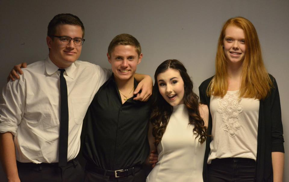 Left to right: Jeremy Cleghorn (guitar), Jared Schwartz (drums), Brooke Falls (vocals), Tina Douglass (piano)