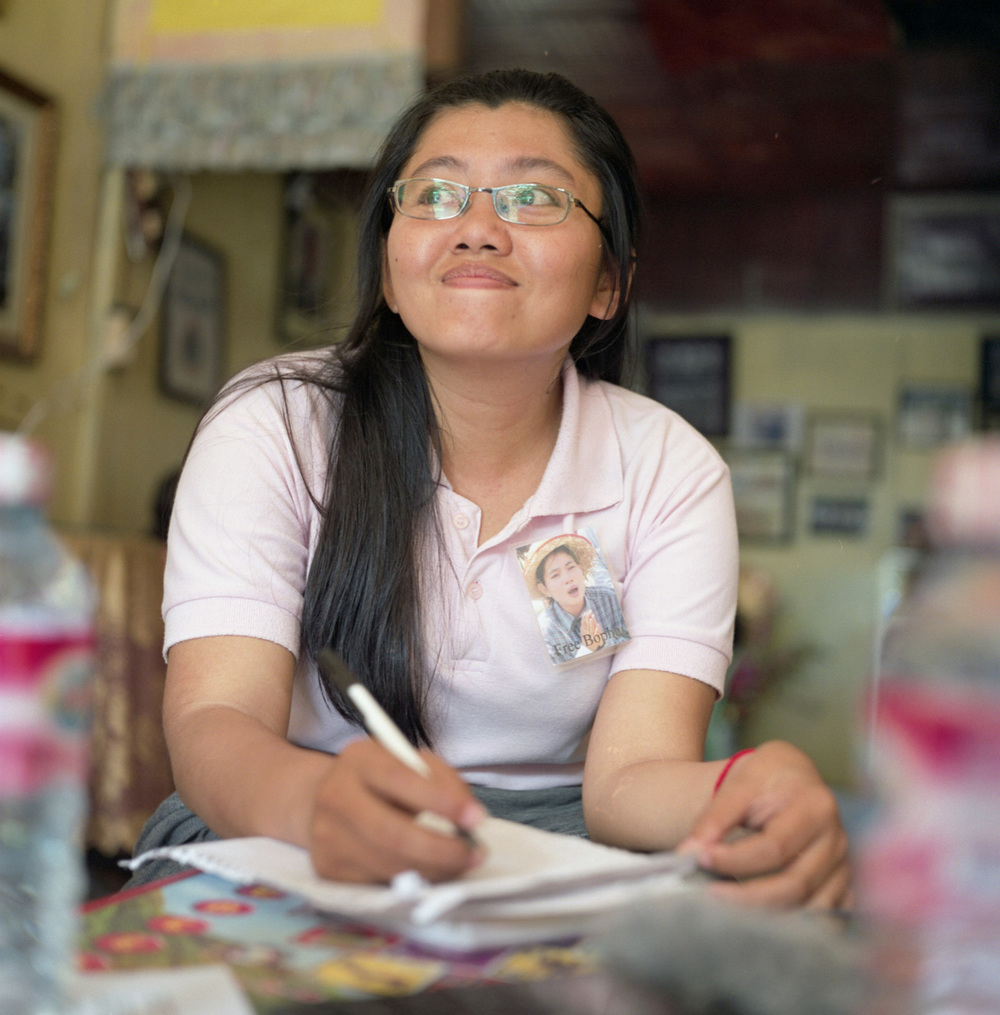 Portrait of Long Kimheang, who works at the Housing Rights Task Force in Phnom Penh to help the Boeung Kak women.