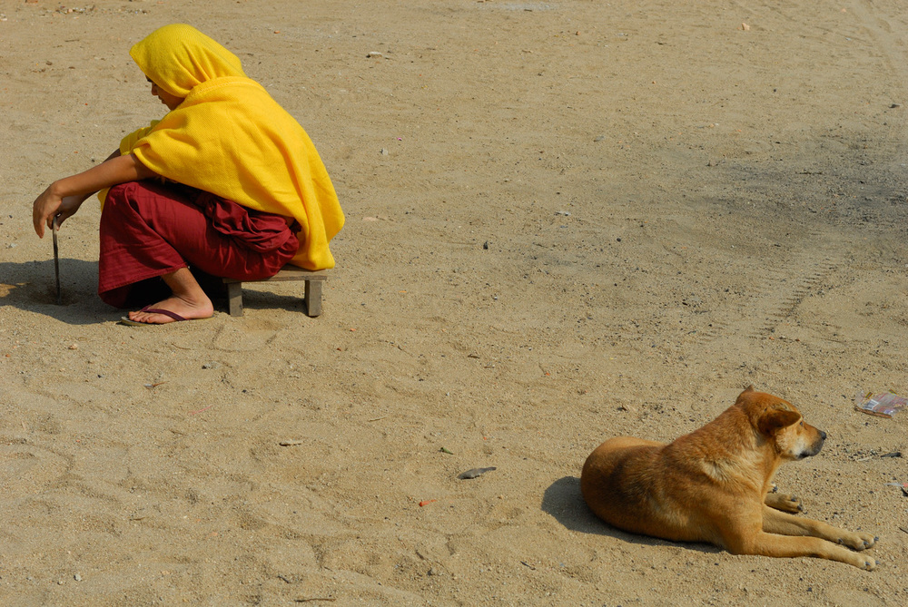 Buddhist monk and street dog in Keng Tung, Myanmar.