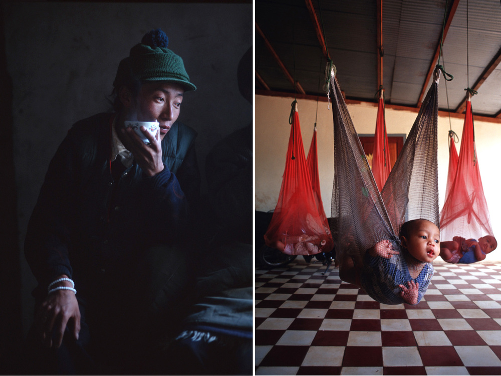 Tea in Tibet, left, and an orphanage in Siem Reap, Cambodia.