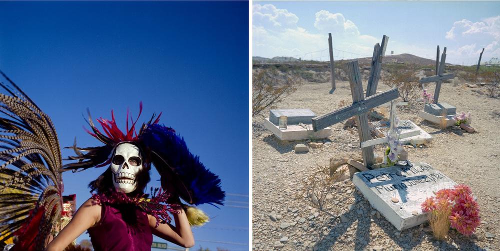Dia de los Muertos parade inAlbuquerque, and migrant cemetery atTerlingua, TX.