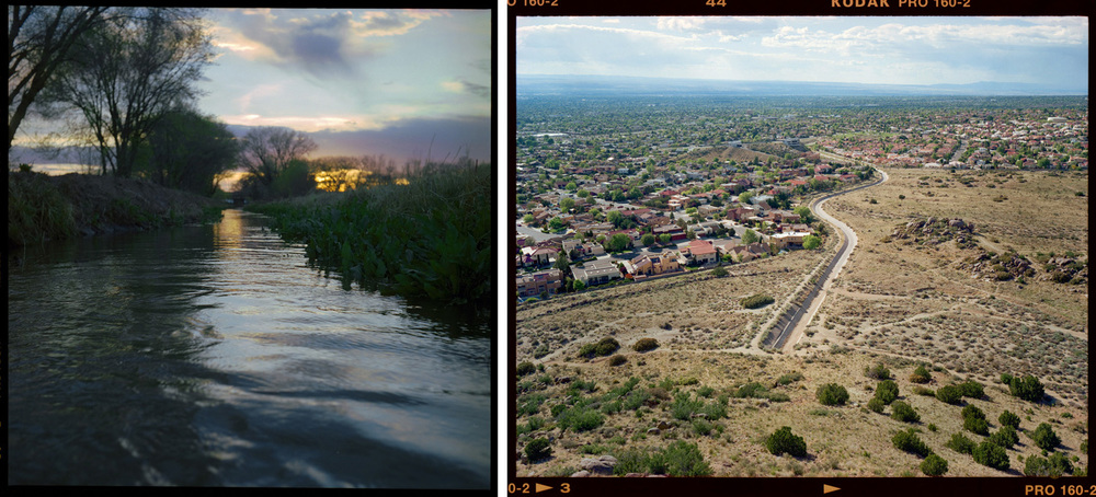 Acequia in Bosque Farms, NM and flood control ditch in Albuquerque.