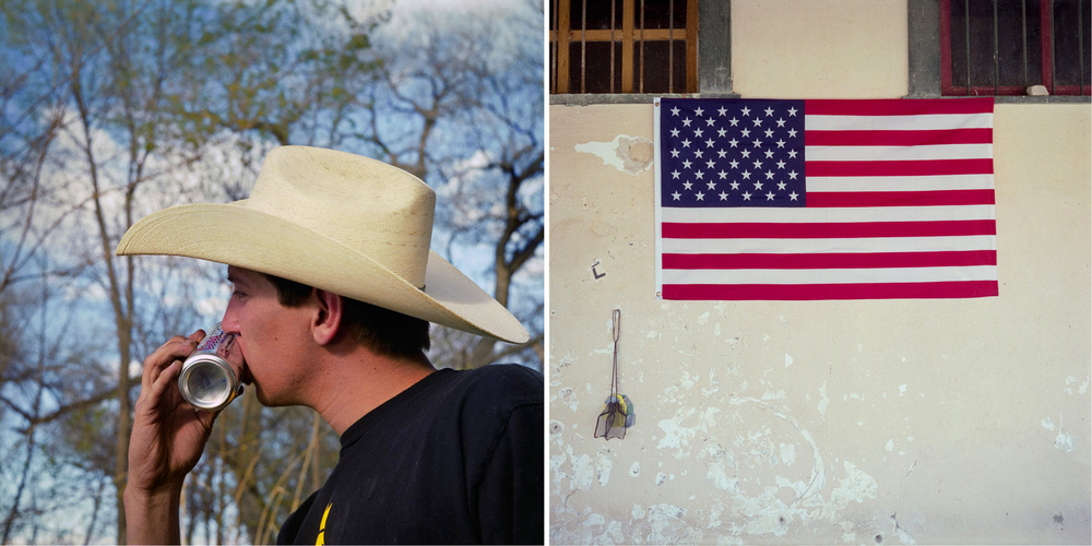 Shot-gunning a beer near Peralta, NM, and American flag in Terlingua, TX.