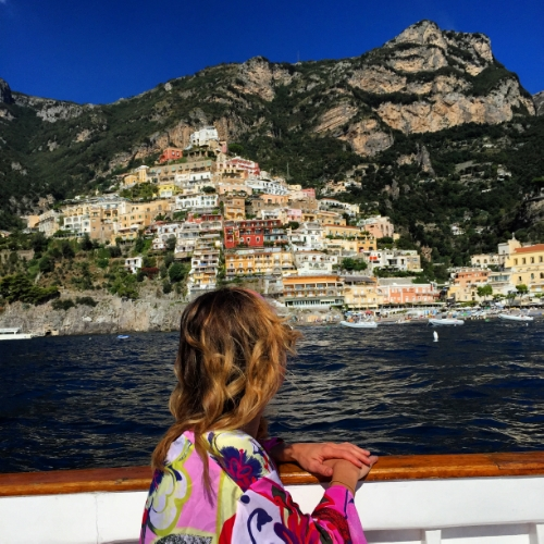 Enjoying  la dolce vita  and an amazing view in Positano, Italy