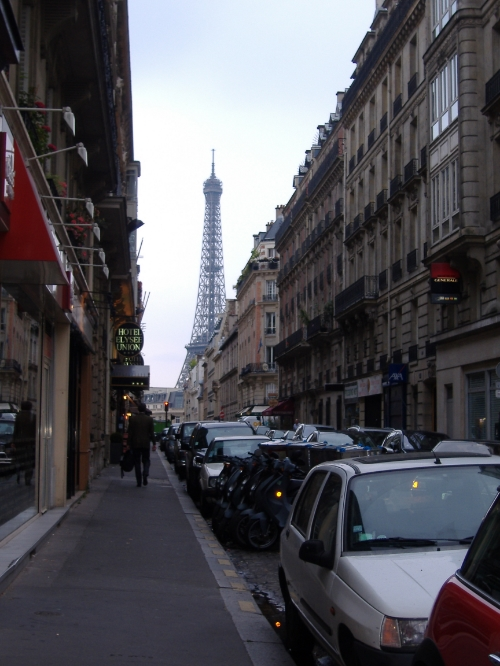 The breathtaking first sight of the Eiffel Tower in Paris after turning a street corner