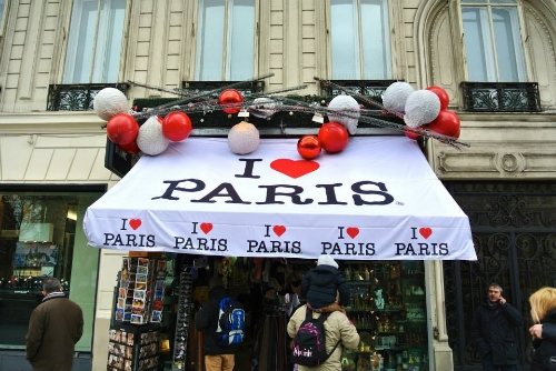 A street side store on Avenue des Champs-Élysées in Paris, spreading the love for the city