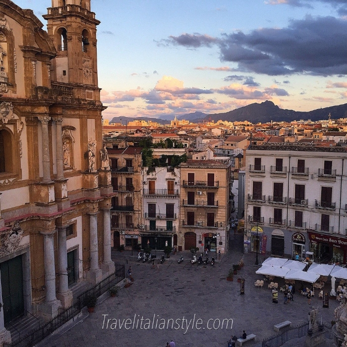 The stunning evening view of Palermo, Sicily