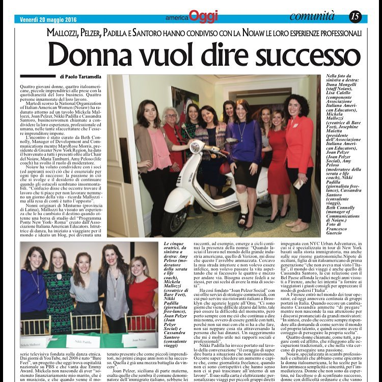 Speaking for the National Organization of Italian American Women at Ciprani on Wall Street in 2016 with Fellow Italian American Entrepreneur Friends. We were featured in press in Italy and USA.