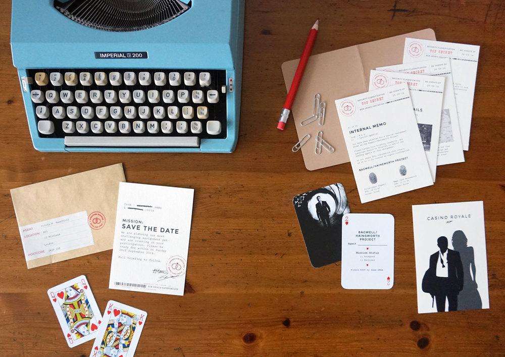 James bond wedding invites twin pines creative james bond wedding invites stopboris Choice Image