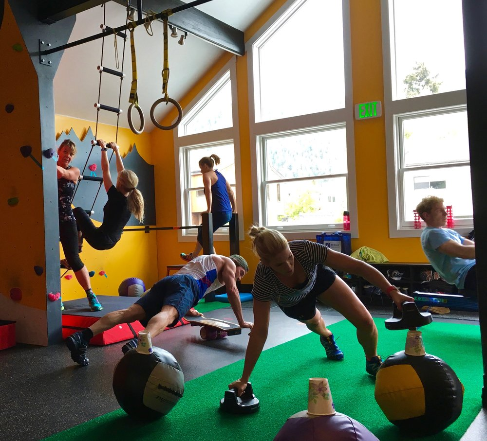 Above: Small-Group class at the HardCore Training Center; the perfect combination of high-intensity circuit, FUNctional strength, and balance work.