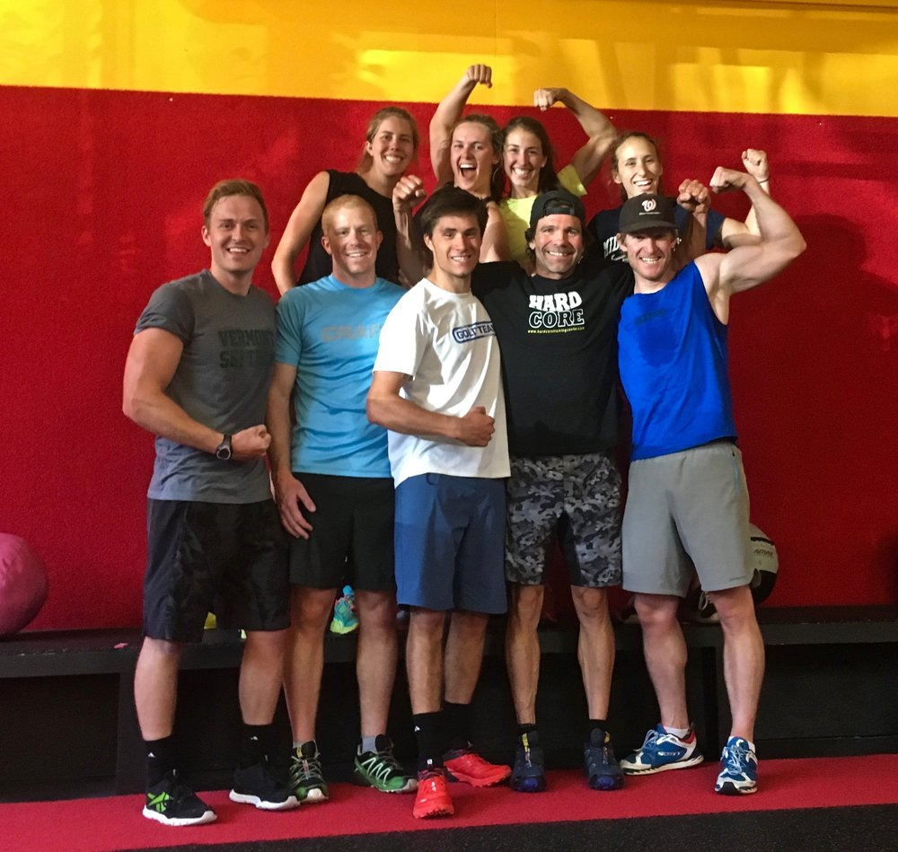 Above (left to right): Sun Valley Nordic Gold Team athletes revel in the aftermath of an endorphin fueled HardCore Training session