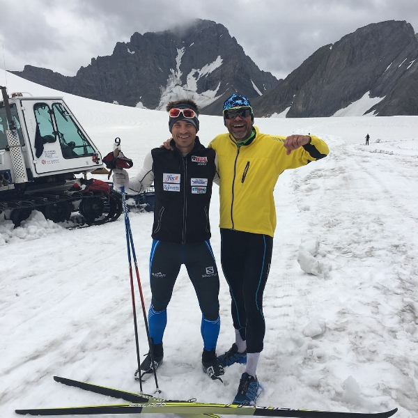 Matt Liebsch and Bill Nurge at the Haig Glacier nordic camp.