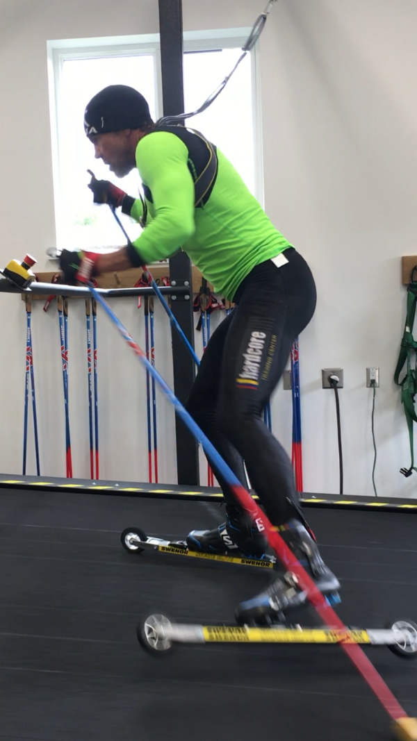 Bill Nurge practices V1 technique on SVSEF Roller-Ski Treadmill.