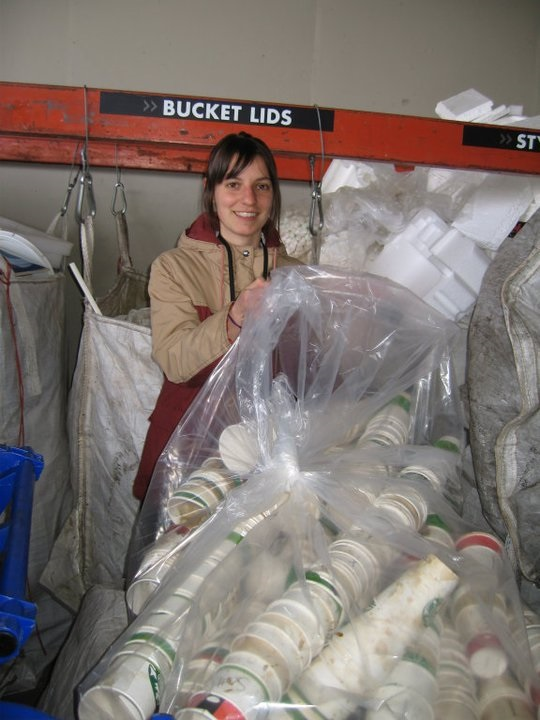 Rachel Zarfas (Class 37) and mounds of coffee cups